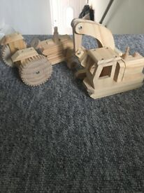 Wood toys - tractor and diger 2£