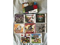(new) Nintendo 3DS Black + Charger & 8 Games - Perfect Condition