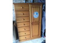 Kids blue bear pine wardrobe 6 drawers and rack for hanging