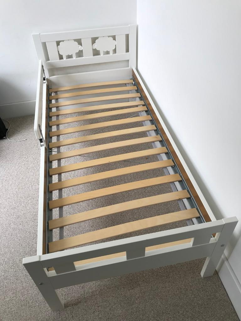 Ikea Kritter White Toddler Bed With Guard Rail Great Condition