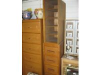 VINTAGE ORNATE UPRIGHT UNUSUAL CHEST OF 5 DRAWERS WITH 5 OPEN SHELVES. VIEWING/DELIVERY AVAILABLE.