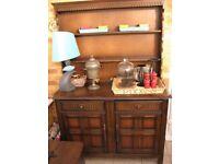 Prioty Corner dark oak welsh dresser (four feet wide) for sale