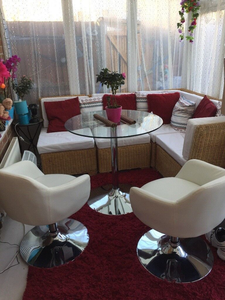 Conservatory Rattan sofas corner unit 4 pieces with white cushions
