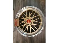 """ALLOYS 18"""" INCH BBS RS LM GOLD 5X112 VW GOLF AUDI A3 A4 A6 S3 S4 PASSAT SKODA SEAT LEON ALLOY WHEELS for sale  Barking, London"""
