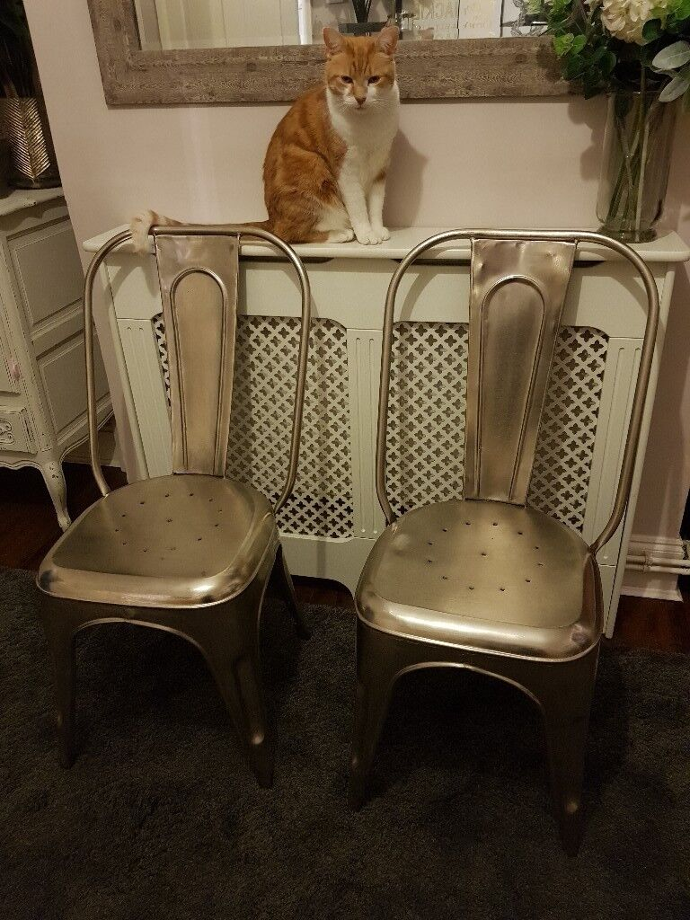 Tolix Chairs Distressed Gun Metal Industrial Dining Living