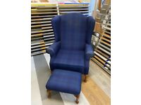 Tartan armchair with footstool