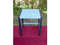 side table black legs and duck egg blue crackle glaze top