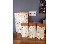 NEXT canisters tea coffee sugar and bread bin heart design
