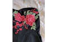 Embroidered cameo rose jumpsuit