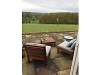 Outdoor Hard wood chairs and side table