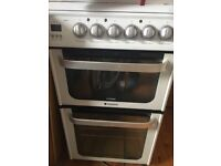 Hotpoint double oven free standing cooker barely used