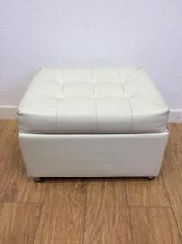 White leather chesterfield stool