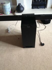 Panasonic sound bar in piano black.