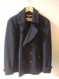 Large black mens superdry pea coat