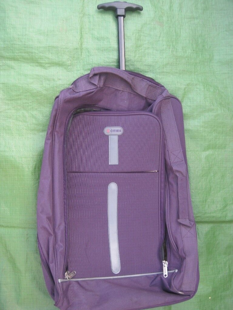 5Cities Purple Fabric Travel Bag with Telescopic Handle and Wheels
