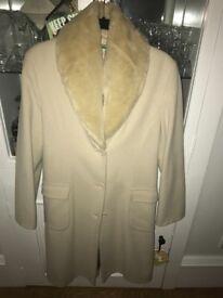 Fur neck camel coat