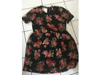 Black and red floral cut out dress, Boohoo size 10