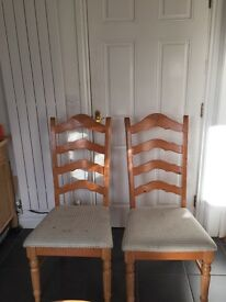 Ladder back dining chairs x 2