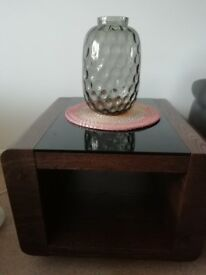 Dark walnut and toughened black glass top side table