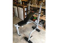 York Fitness Weight Lifting Bench with leg curl press, bar and weights