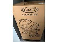 Graco Stadium Duo - Double Pushchair (Black/Grey) - Brand New