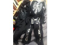 Skeleton and bat man outfits