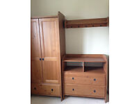 Nursery furniture set including Cot Bed, Wardrobe, Changing unit with drawers and shelf. £150.00 ONO