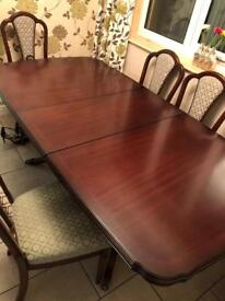 Mahogany dinning table and chairs