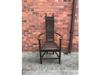 Bavarian 19th century carved vintage corner chair. Antique.