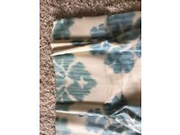 One pair professionally made linen curtains with matching cushion