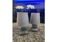 Grey Bedside Lamps x2