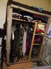 Wooden fabric wardrobe