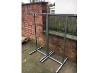 Adjustable metal clothes rails x 2