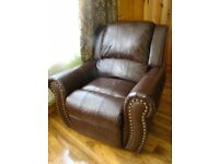 Recliner brown armchair bonded leather