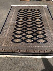 Beautiful navy and bronze, silk rug