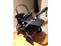Bugaboo Cameleon 3 stroller in great condition with carry cot, toddler seat, black apron and more