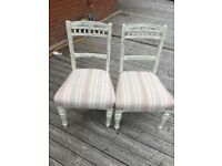 Pair of pretty, painted and upholstered kitchen chairs