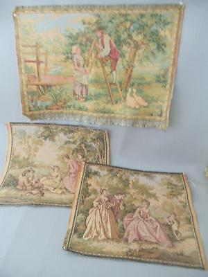 ANTIQUE VTG LOT 3 FRENCH VICTORIAN COURTING COUPLE SMALL TAPESTRIES PILLOW SIZE