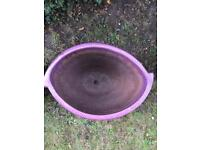 Small ceramic flower pot, purple, oval, in good condition