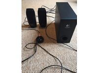 Logitech S220 2.1 speaker system with two satellite speakers and a subwoofer