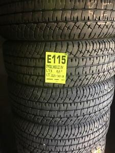 E115) 4-LT 265/70R18 MICHELIN LTX AT2  TAKE OFF TIRES $ 400 set 13/32 TRAED