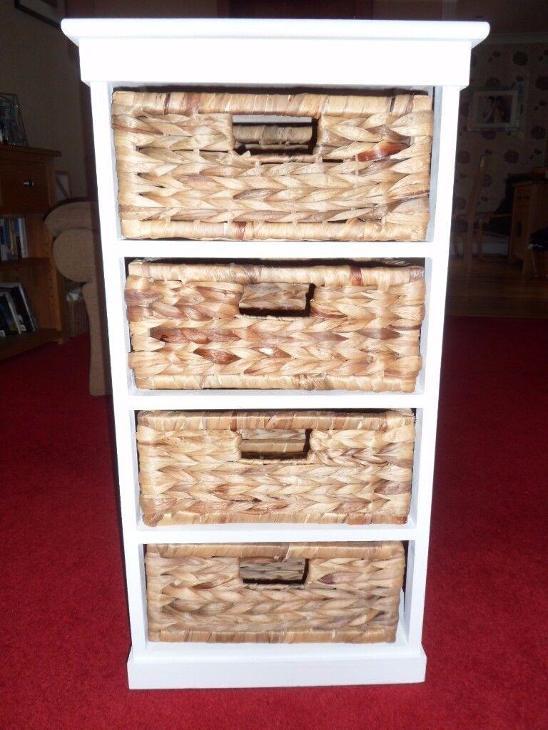 Hartleys Seagrass 4 Drawer Storage Unit - White