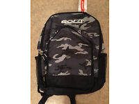 Unused With Tag. Gola Rucksack / Backpack. Black & Grey Camouflage Design.