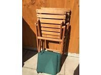 2 foldout wooden garden chairs with cushions excellent condition
