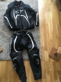 alpinestars orbiter two piece racing leathers (worn once!)