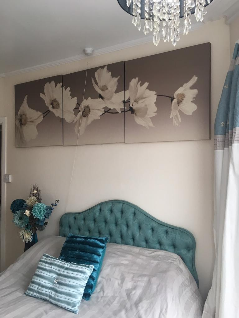 Cream and brown floral wall canvases