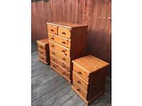 Well built large pine chest of drawers & bedside drawers, bargain free delivery
