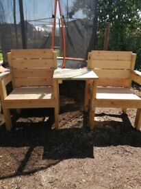 Love Seat Garden wooden chair and shared table