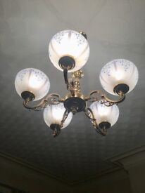 Glass chandelier and double wall lights set