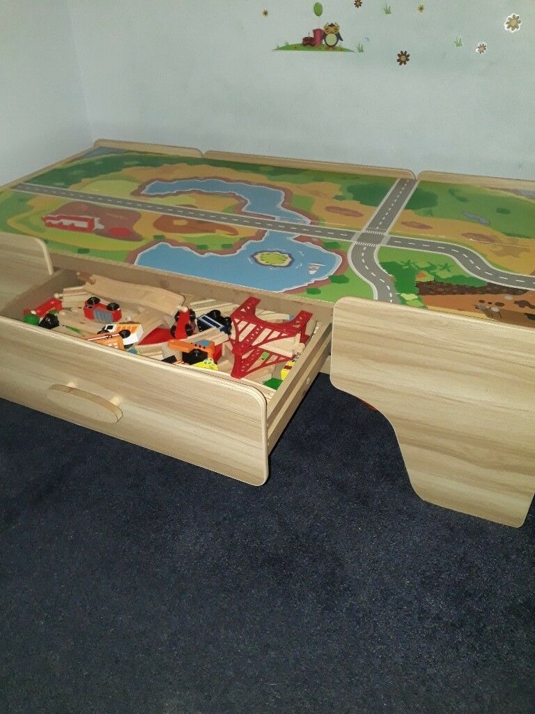 Wooden Table Top Train Set Up To 100 Pieces With Stirage Drawer Good As